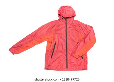 Red yellow and black zipper windbreaker hiking jacket, rain proof jacket hoodie, track jacket sport nylon full zip isolated on white