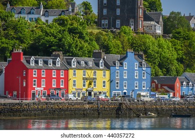 Red yellow and blue buildings Tobermory Mull Scotland