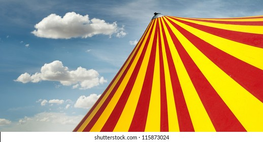 Red and yellow circus dome