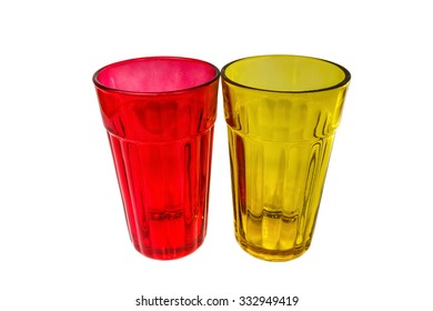 red and yellow color water glass on white background.