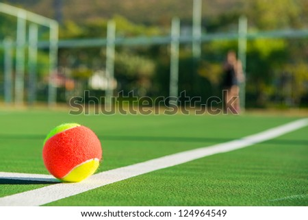 Red Yellow Colored Tennis Ball Placed Stock Photo Edit Now