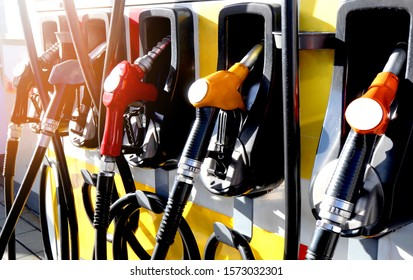 red and yellow colorful fuel, gasoline dispenser