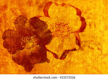 Red yellow flower floral grunge style modern graphic design and contemporary abstract digital art form