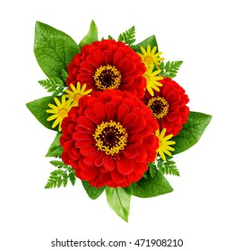 Red and yellow flowers bouquet isolated on white