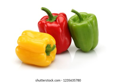 Red, yellow and green bell pepper group isolated on white background