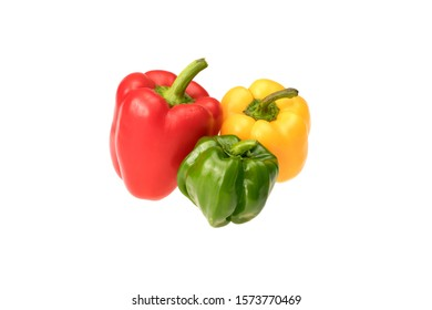 red yellow and green bell pepper on white background.