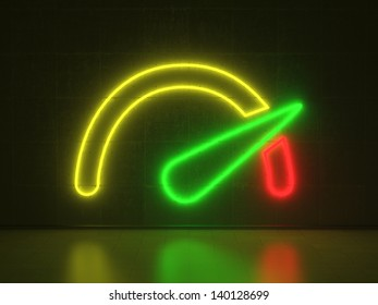 A red, yellow and green Neon Sign in Form of a Tachometer on a Wall of Concrete