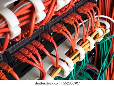 Red, yellow and green network patch cord cables connected to switch patch panel in data center. Internet technology background