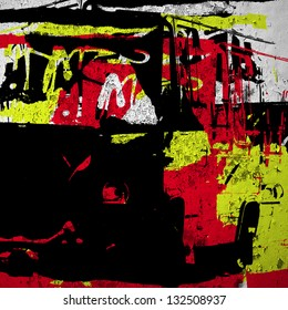 Red yellow grunge wall