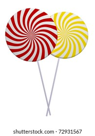 Red and yellow lollipops isolated on white