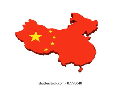 A red and yellow map of USA with the Chinese flag isolated on white