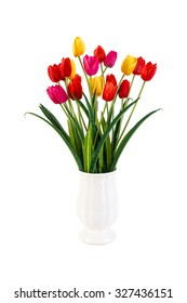 Red and Yellow and Pink tulips in pot isolated on white background
