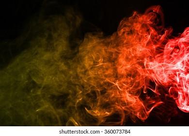 Red yellow smoke texture on dark background