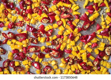 red and yellow spicy chili pepper texture