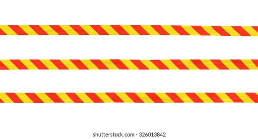 Red and Yellow Striped Barrier Tape Lines Isolated on White