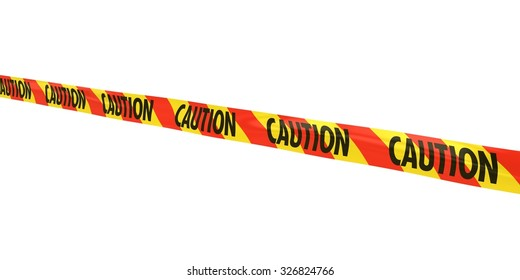 Red and Yellow Striped CAUTION Tape Line at Angle