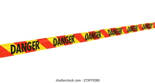 Red and Yellow Striped DANGER Tape Line at Angle
