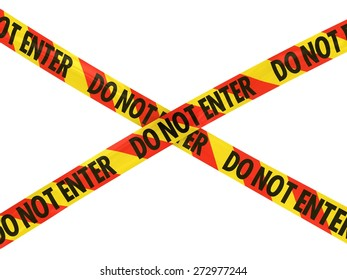 Red and Yellow Striped DO NOT ENTER Tape Cross