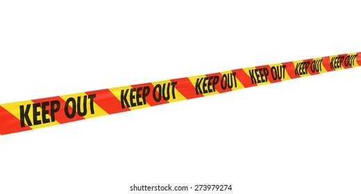 Red and Yellow Striped KEEP OUT Tape Line at Angle