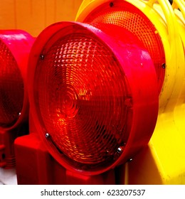 red and yellow warning lights