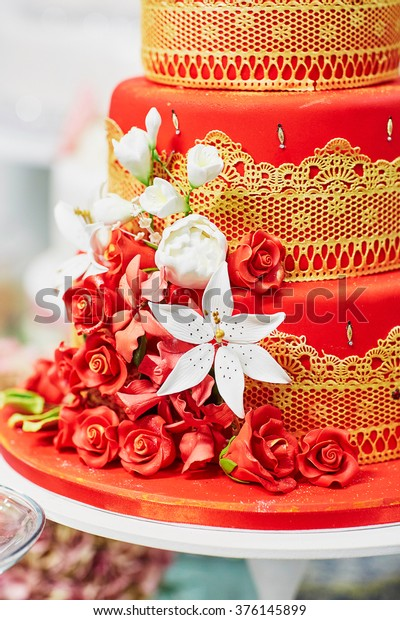Red Yellow Wedding Cake Decorated Sugar Stock Image Download Now