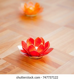 red yoga candle holder