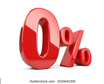 Red Zero Percent Or 0 Special Offer Isolated Over White Background 3d Illustration