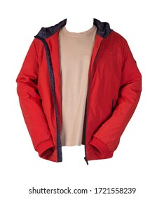 red zipped jacket and beige t-shirt isolated on a white background. Casual style