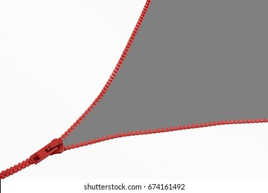 Red zipper opening unveiling cutouts