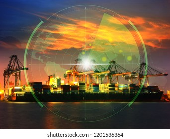Reda cover the Container Cargo freight ship with working crane bridge in shipyard at dusk for Logistic Import Export background