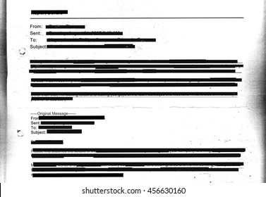 Redacted email texture on photocopied sheet with hole punch marks - entirely censored