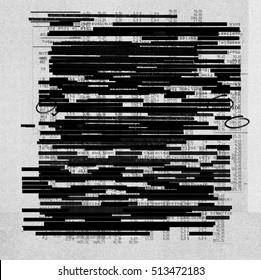 Redacted information texture on photocopy texture background
