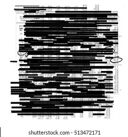Redacted information texture on white background