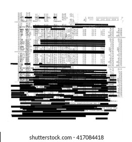 Redacted text texture on white background