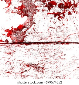 Red-Black-White Aged Grunge Wall Background. Old Weathered Peeled Painted Plaster Backdrop. Abstract Antique Cracked Stain Texture Background. Retro Stucco Scratched Pattern