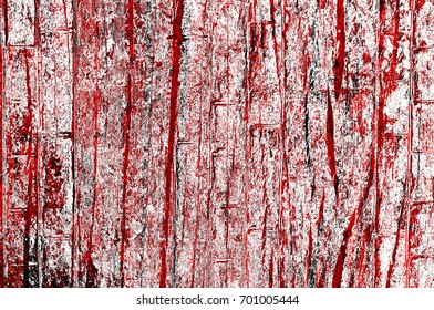 Red-Black-White Aged Grunge Wall Background. Old Weathered Peeled Painted Plaster Backdrop. Abstract Antique Cracked Stain Texture Background. Damaged Retro Stucco Scratched Pattern