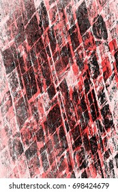 Red-Black-White Grunge Wall Background. Old Weathered Peeled Painted Plaster Backdrop. Abstract Antique Cracked Texture Background. Retro Stucco Scratched Pattern