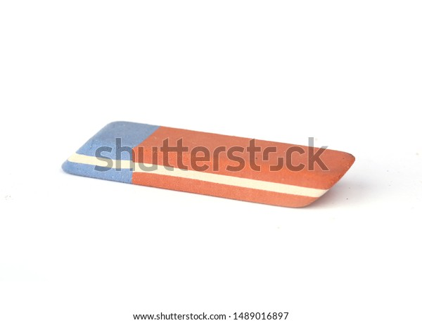 red-blue eraser on a white background