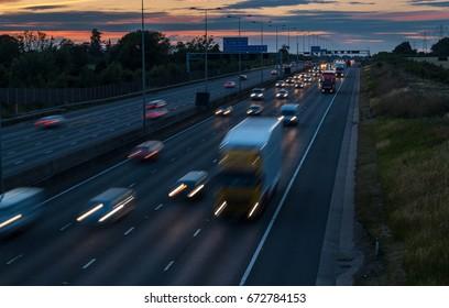 Redbourn, UK - July 2, 2017: Evening traffic on the British motorway M1