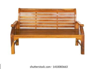 Red-brown bench table isolated from the white background clipping path