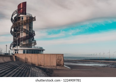 Redcar, Cleveland / England - November 8th 2018 : The vertical pier in Redcar.
