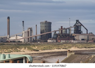 Redcar, Cleveland / England - September 30th 2018 : View from Vertical Pier in Redcar. British Steel.