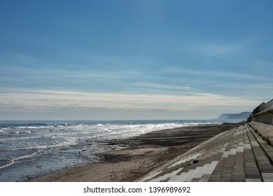 Redcar coastline. Sea defence with steps.