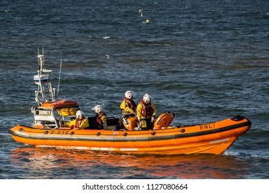 Redcar, Teesside, UK - July 4th 2018 : British coastguard launching and docking.