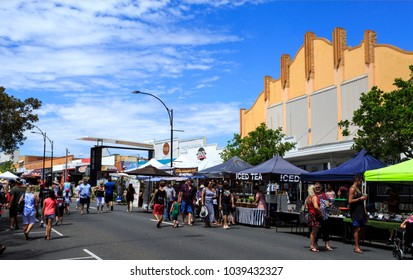 REDCLIFFE, AUSTRALIA - March 4, 2018: The Redcliffe Jetty Markets, on the foreshore in the heart of Redcliffe, are excellent for fresh farm produce, arts and crafts and ethnic food specialities.