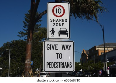 Redcliffe, Australia. May 2017 - editorial use only: Shared Zone 10 km/h road sign, 'Give Way to Pedestrians'.