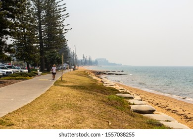 REDCLIFFE, AUSTRALIA - November 11, 2019:Intense smoke haze blankets the Redcliffe Peninsula during the bush fires of Northern New South Wales and Southeast Queensland