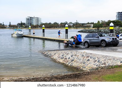 REDCLIFFE, AUSTRALIA – October 28, 2018:  Prepare to launch a jet ski watercraft at the boat ramp in the Redcliffe Peninsula, Queensland, Australia
