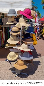 Redcliffe, Queensland Australia March 24th 2019. Market stall, hat stand,