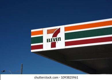 Redcliffe, Queensland, Australia - May 14 2018: 7 Eleven convenience store and petrol outlet, logo on awning.